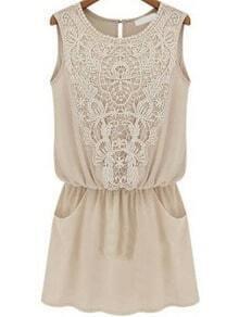 Apricot Sleeveless Lace Slim Chiffon Dress
