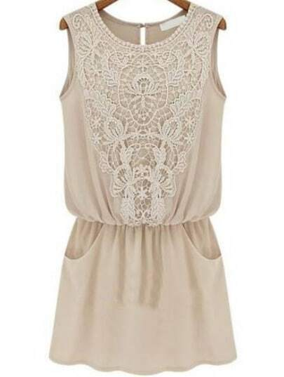 Apricot Sleeveless Lace Slim Chiffon Dress