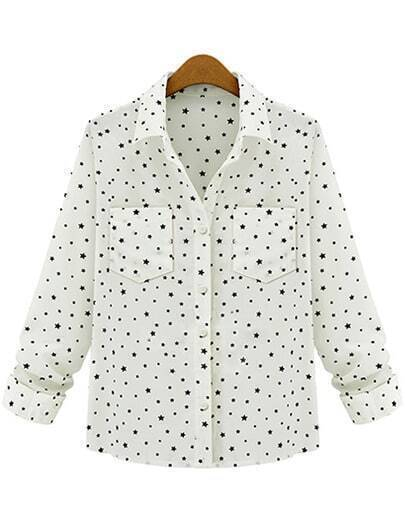 White Lapel Polka Dot Stars Print Blouse