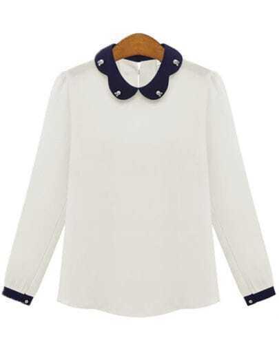 White Contrast Collar Bead Chiffon Blouse