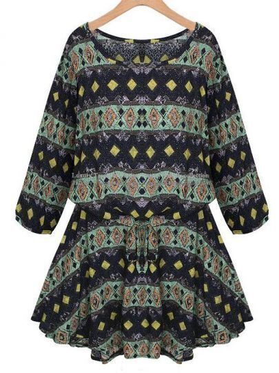 Green Long Sleeve Geometric Pattern Dress