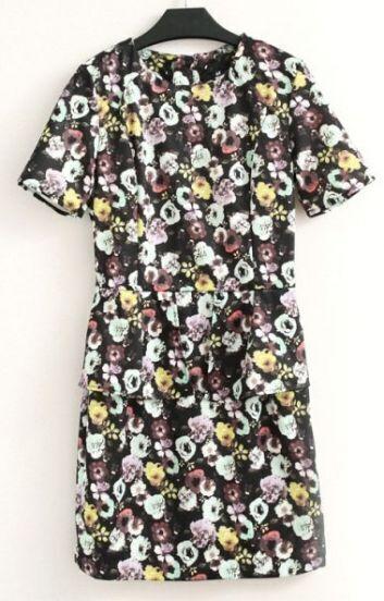Multicolor Short Sleeve Floral Print Dress