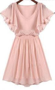 Pink Ruffle Short Sleeve Pleated Dress