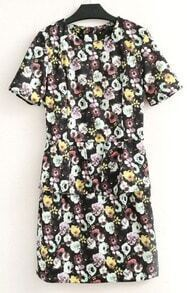 Multicolor Short Sleeve Floral Print Dress