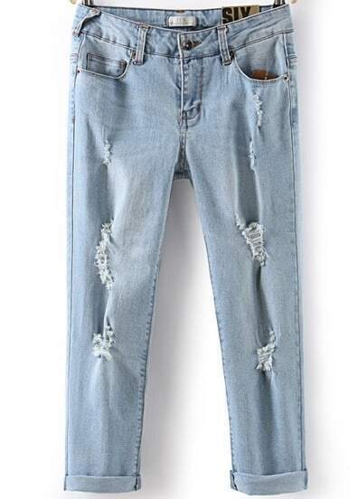 Light Blue Ripped Bleached Pleated Denim Pant