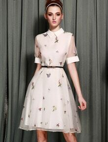 White Short Sleeve Lapel Embroidery Dress