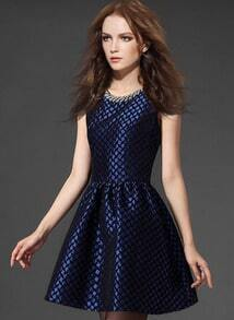 Blue Sleeveless Plaid Dress