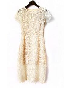Beige Short Sleeve Lace Dress