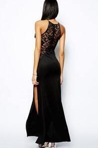 Black Spaghetti Strap Contrast Lace Split Dress