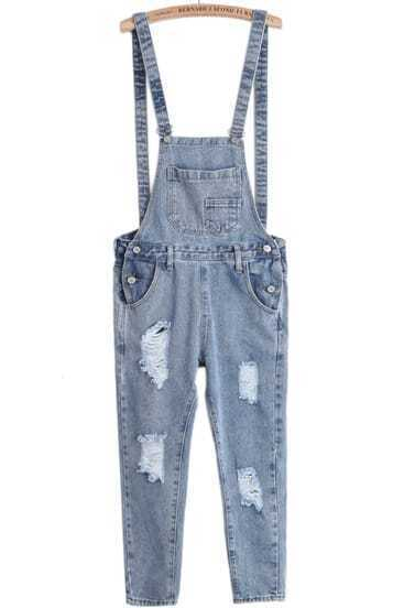 Blue Strap Ripped Pockets Denim Jumpsuits