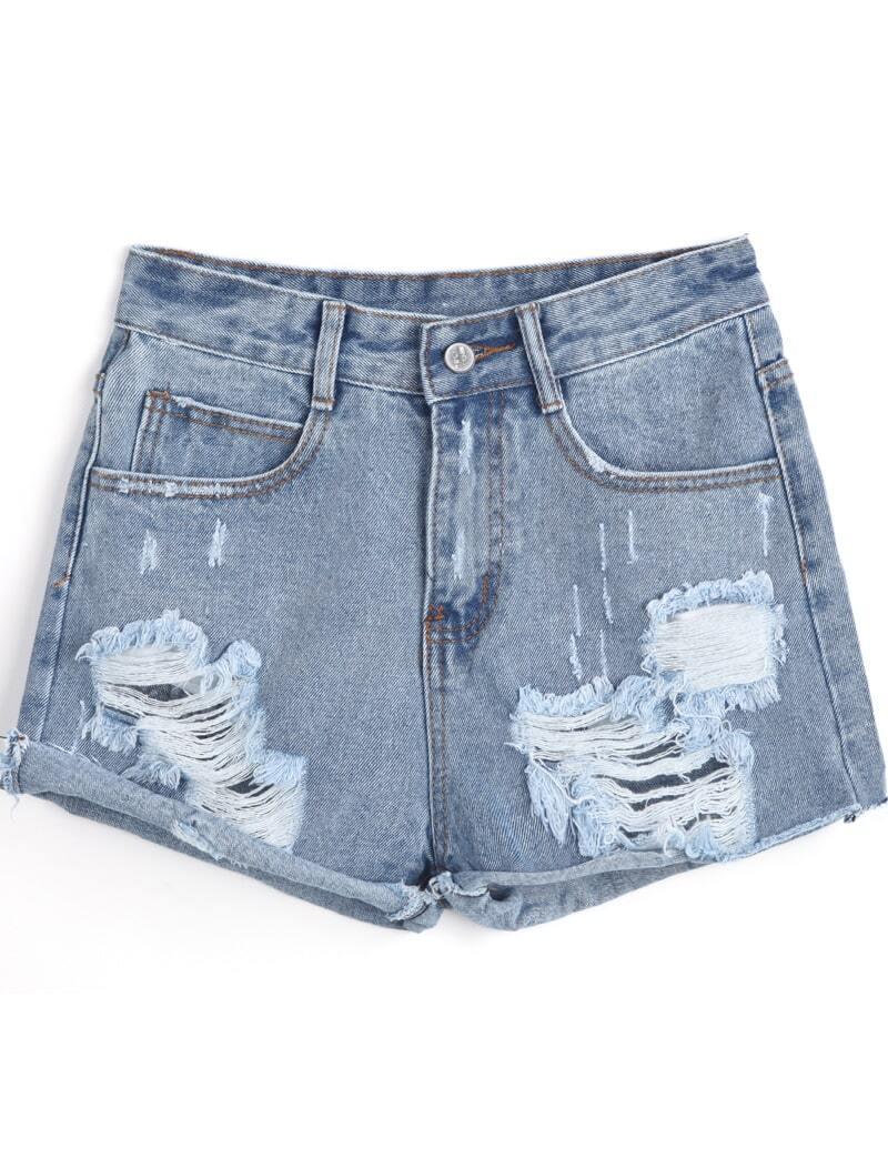 Blue Flange Ripped Denim Shorts -SheIn(Sheinside)