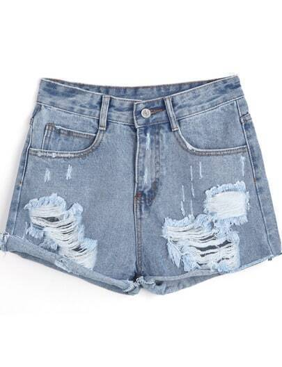 Blue Flange Ripped Denim Shorts