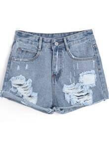 Blue Flange Ripped Denim Shorts