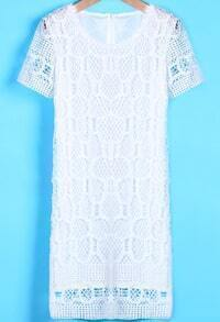White Short Sleeve Hollow Slim Lace Dress