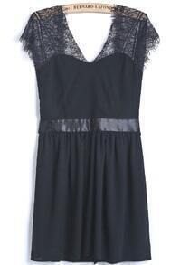Black Contrast Lace Backless Bow Chiffon Dress