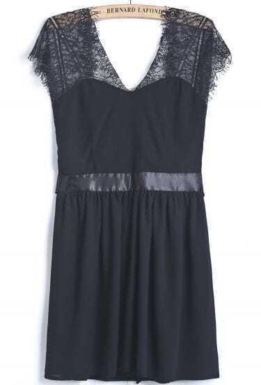 Black Contrast Lace Backless Bow Chiffon Dress