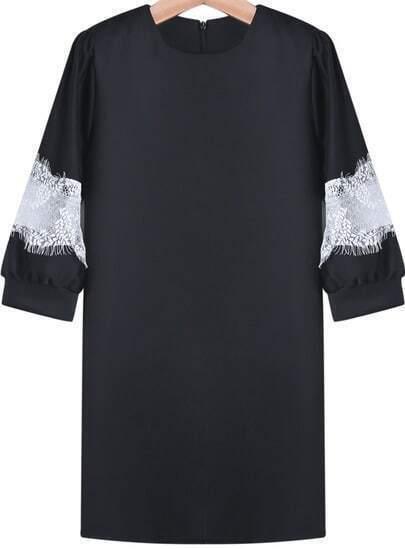 Black Contrast Lace Zipper Loose Blouse