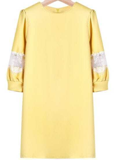 Yellow Contrast Lace Zipper Loose Blouse