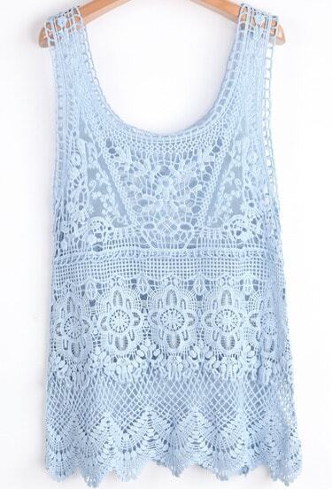 Blue Scoop Neck Sleeveless Lace Hollow Vest