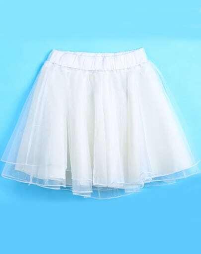 White Elastic Waist Flare Organza Skirt