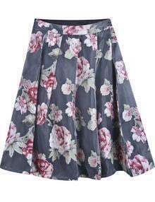 Black Floral Flare Organza Skirt
