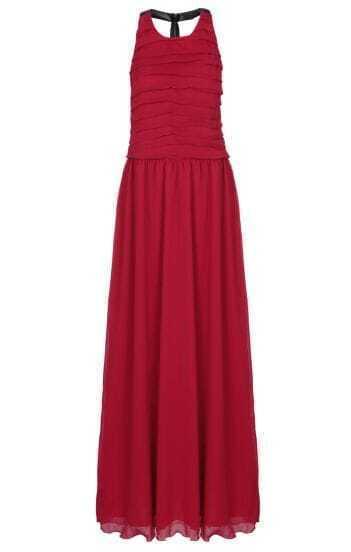 Red Halter Sleeveless Backless Chiffon Dress