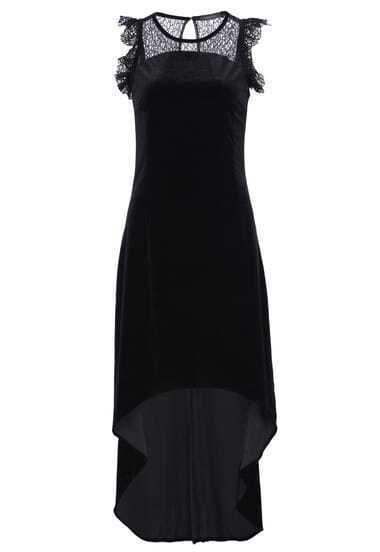 Black Contrast Sheer Lace High Low Dress