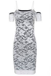 White Spaghetti Strap Embroidered Bodycon Lace Dress