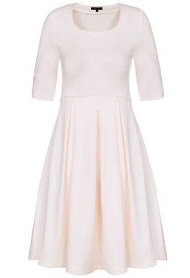 Light Pink Scoop Neck Short Sleeve Pleated Dress
