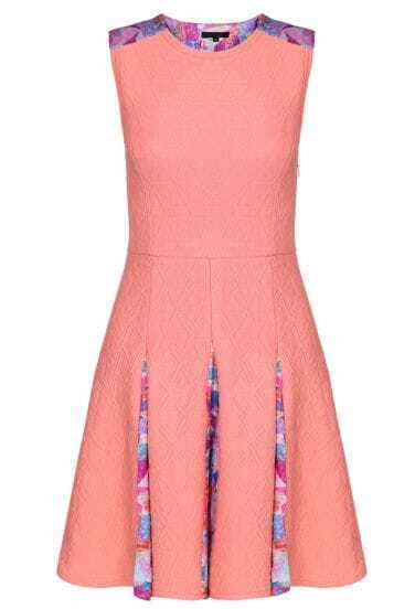 Pink Sleeveless Backless Jacquard Ruffle Dress