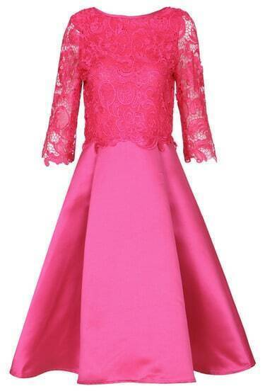 Rose Red Round Neck Lace Pleated Dress
