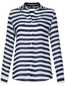 Blue White Striped Lapel Pockets Chiffon Blouse