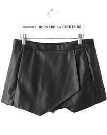 Black Asymmetrical PU Leather Straight Shorts
