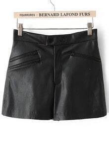Black Zipper Pockets PU Leather Shorts
