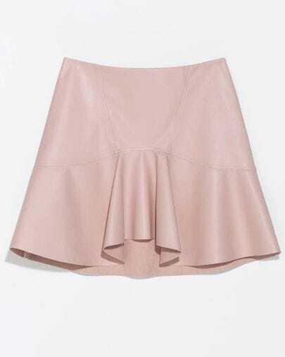Pink Ruffle PU Leather Skirt