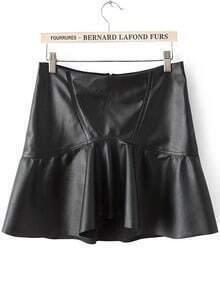 Black Ruffle PU Leather Skirt
