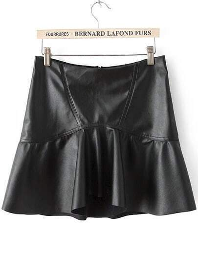Black Ruffle PU Leather Skirt