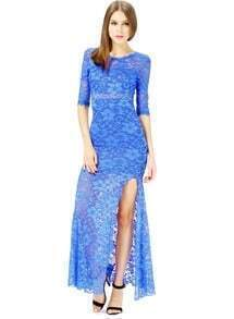 Blue Half Sleeve Embroidered Hollow Lace Dress