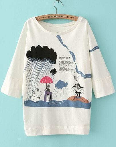 Camiseta Cartoon lluvia manga muriciélago-blanco