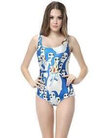 Blue Sleeveless Skinny Penguin Print Swimsuit