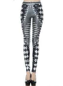 Black White Geometric Print Skinny Leggings