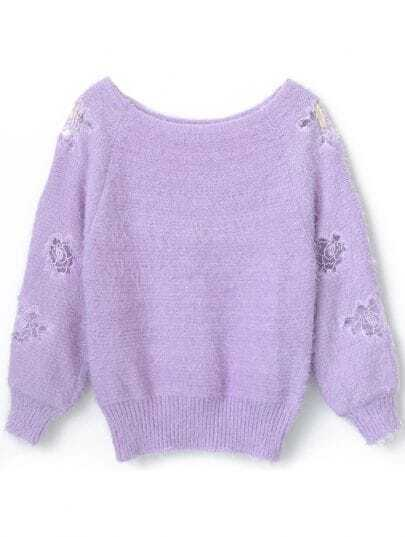 Purple Long Sleeve Embroidered Mohair Sweater