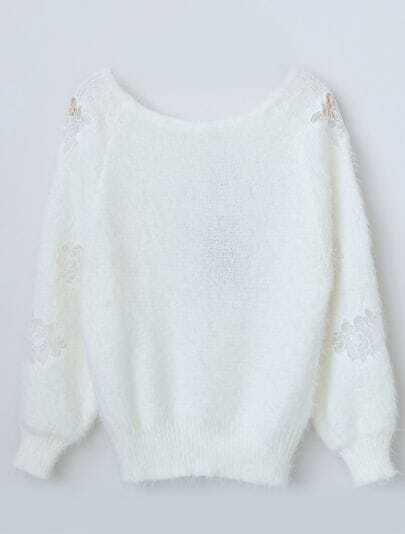 White Long Sleeve Embroidered Mohair Sweater