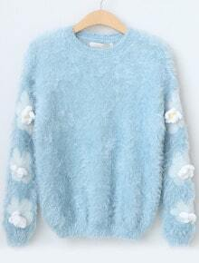 Blue Long Sleeve Applique Mohair Knit Sweater