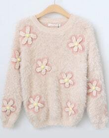 Pink Long Sleeve Applique Loose Knit Sweater