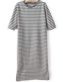 Grey Short Sleeve Striped Bodycon Dress