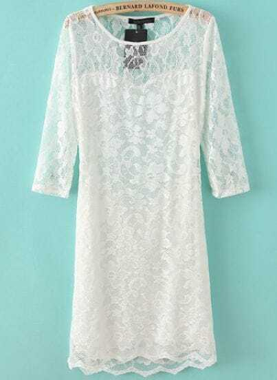White Long Sleeve Backless Lace Bodycon Dress