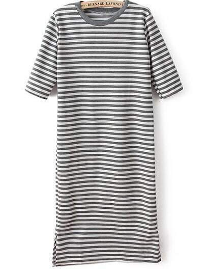 Grey Short Sleeve Striped Bodycon Dress