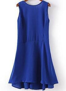 Blue Sleeveless Backless Ruffle Chiffon Dress
