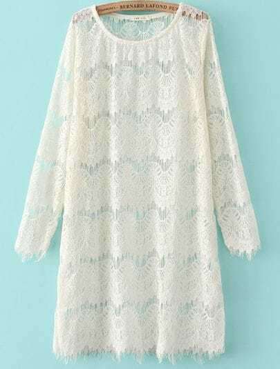 White Long Sleeve Embroidered Lace Straight Dress
